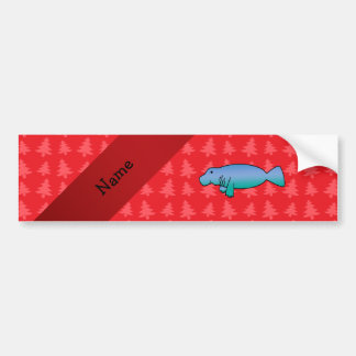 Personalized name manatee red christmas trees car bumper sticker