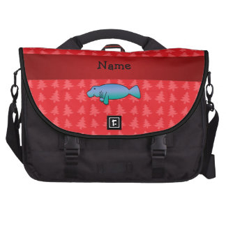Personalized name manatee red christmas trees laptop messenger bag