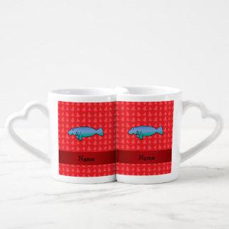Personalized name manatee red christmas trees couples' coffee mug set