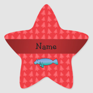 Personalized name manatee red christmas trees star sticker