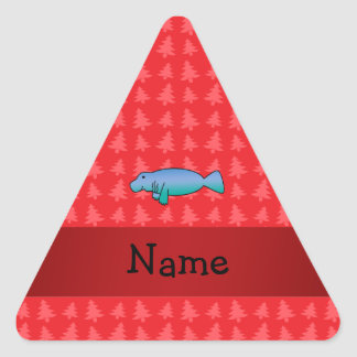 Personalized name manatee red christmas trees triangle sticker