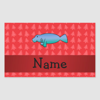 Personalized name manatee red christmas trees rectangular sticker