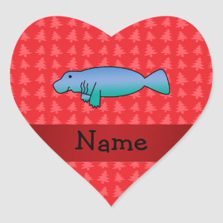 Personalized name manatee red christmas trees heart sticker