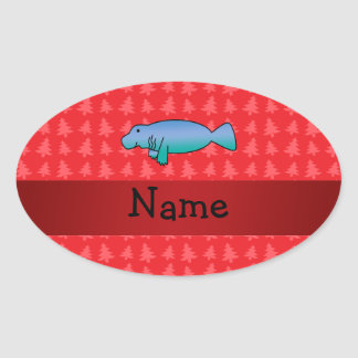 Personalized name manatee red christmas trees oval sticker