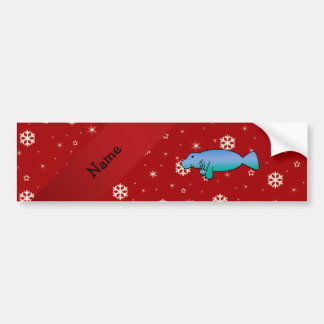 Personalized name manatee red snowflakes car bumper sticker
