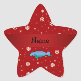 Personalized name manatee red snowflakes star sticker