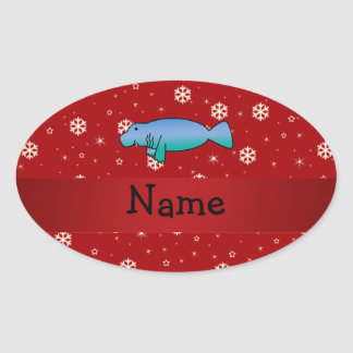 Personalized name manatee red snowflakes oval sticker