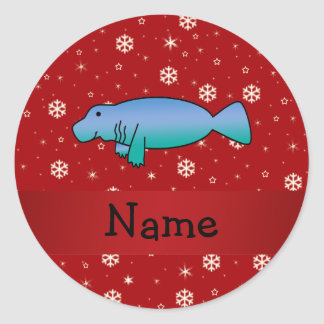 Personalized name manatee red snowflakes classic round sticker