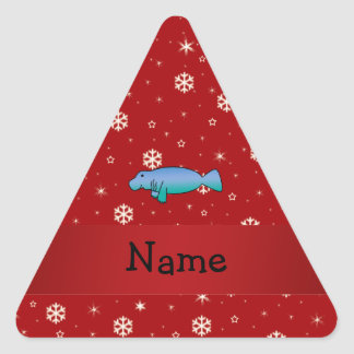 Personalized name manatee red snowflakes triangle sticker