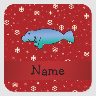 Personalized name manatee red snowflakes square sticker