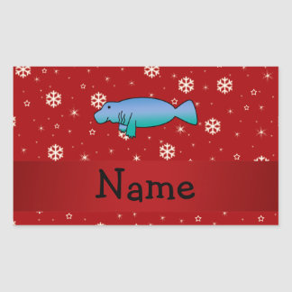 Personalized name manatee red snowflakes rectangular sticker