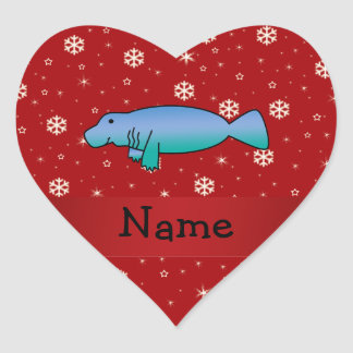 Personalized name manatee red snowflakes heart sticker