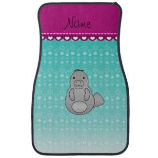 Personalized name manatee turquoise bubbles car floor mat