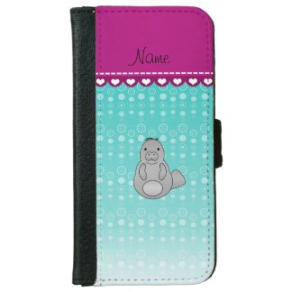 Personalized name manatee turquoise bubbles iPhone 6 wallet case