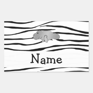 Personalized name manatee zebra stripes rectangular sticker