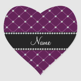 Personalized name Maroon diamonds Heart Sticker