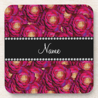 Personalized name Maroon pink roses Beverage Coasters
