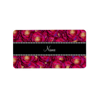 Personalized name Maroon pink roses Address Label