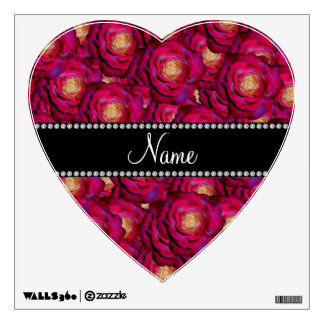 Personalized name Maroon pink roses Wall Sticker