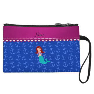 Personalized name mermaid blue anchors wristlet