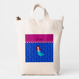 Personalized name mermaid blue anchors duck canvas bag