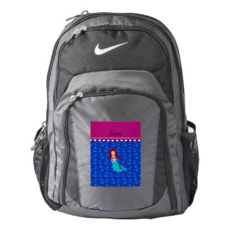 Personalized name mermaid blue anchors backpack