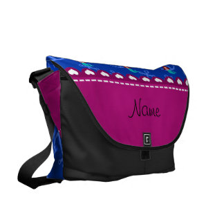 Personalized name mermaid blue anchors messenger bag