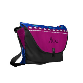 Personalized name mermaid blue anchors messenger bags