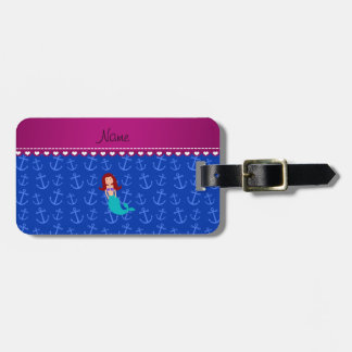 Personalized name mermaid blue anchors tags for bags