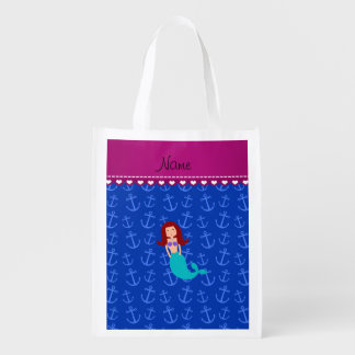 Personalized name mermaid blue anchors market totes