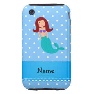 Personalized name mermaid blue polka dots iPhone 3 tough cover
