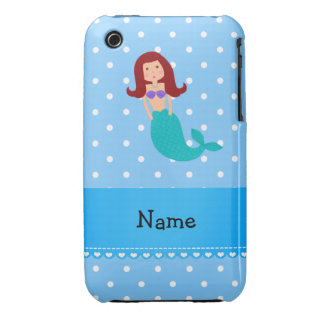Personalized name mermaid blue polka dots iPhone 3 cases
