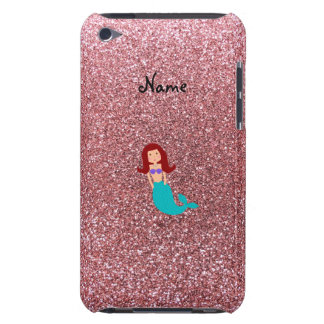 Personalized name mermaid pastel pink glitter barely there iPod cover