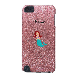Personalized name mermaid pastel pink glitter iPod touch 5G case