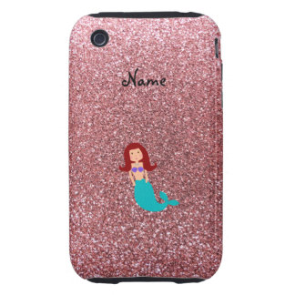 Personalized name mermaid pastel pink glitter iPhone 3 tough cases