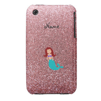 Personalized name mermaid pastel pink glitter iPhone 3 cases