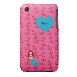 Personalized name mermaid pink anchors iPhone 3 case