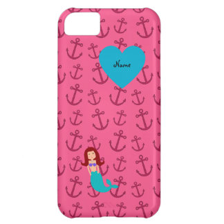 Personalized name mermaid pink anchors cover for iPhone 5C