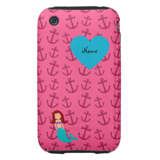 Personalized name mermaid pink anchors iPhone 3 tough case