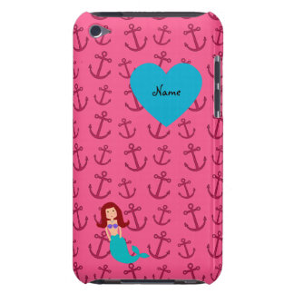 Personalized name mermaid pink anchors iPod touch covers