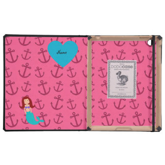 Personalized name mermaid pink anchors covers for iPad