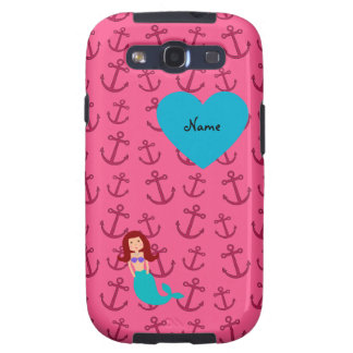 Personalized name mermaid pink anchors galaxy s3 case