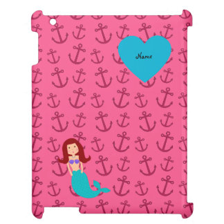 Personalized name mermaid pink anchors iPad covers