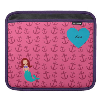 Personalized name mermaid pink anchors iPad sleeve