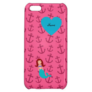 Personalized name mermaid pink anchors iPhone 5C cases