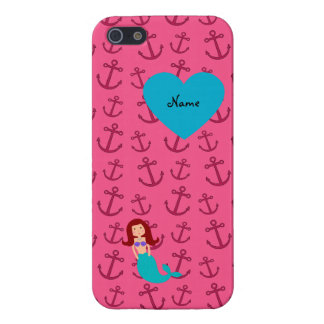 Personalized name mermaid pink anchors covers for iPhone 5