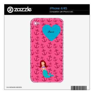 Personalized name mermaid pink anchors iPhone 4S decals