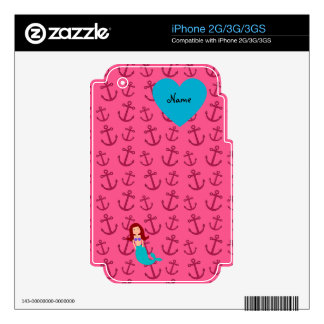 Personalized name mermaid pink anchors decal for the iPhone 3G