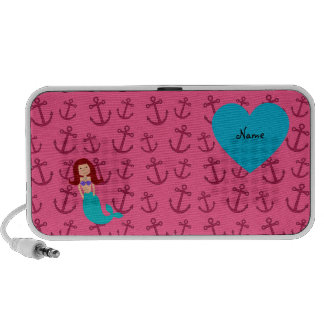 Personalized name mermaid pink anchors notebook speakers