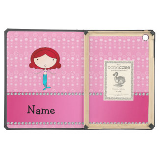 Personalized name mermaid pink bubbles cover for iPad air